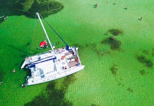 image of a lagoon pontoon boat from above