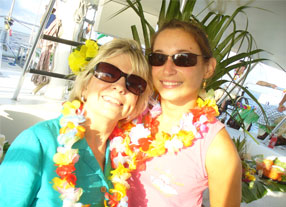 image of a mother and daughter on a private charter