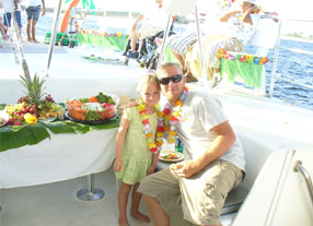 image of a father and daughter on a private charter