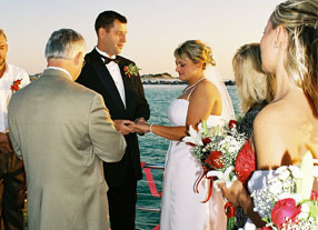 image of a wedding taking place on a private charter